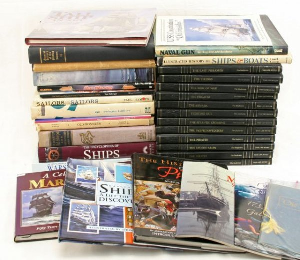 LARGE LOT OF BOOKS ON SHIPS SAILING PIRATES