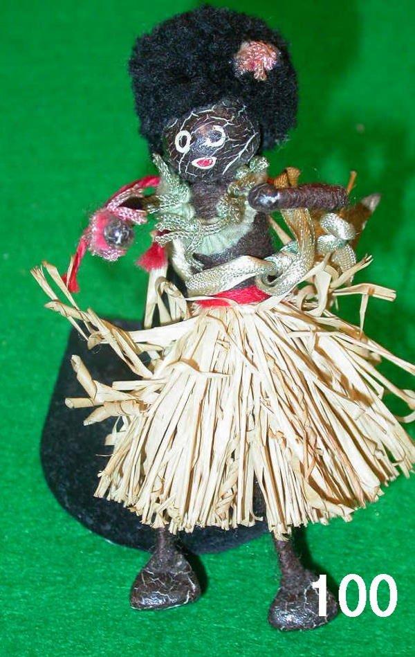 50100: ANTIQUE GOLLIWOG NEGRO FIGURINE BLACK NATIVE