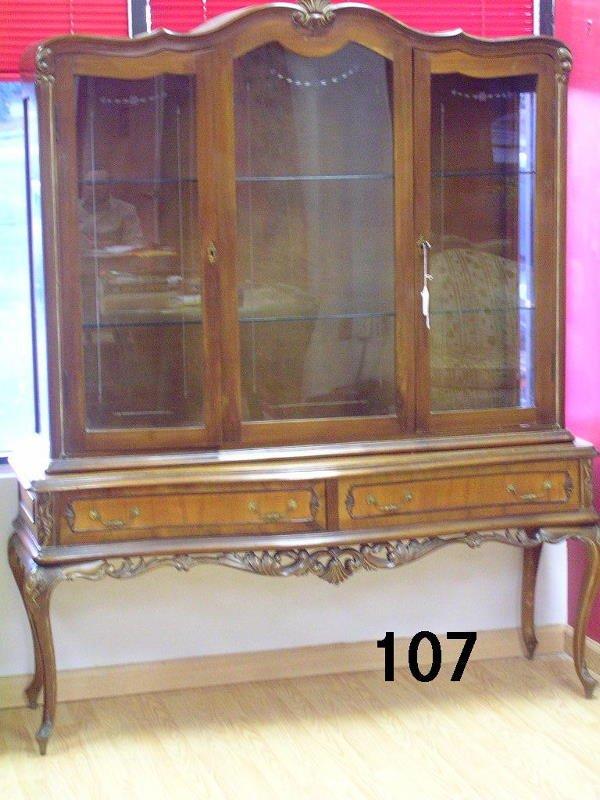 50107: ANTIQUE QUEEN ANNE CHINA CABINET WALNUT FLORAL