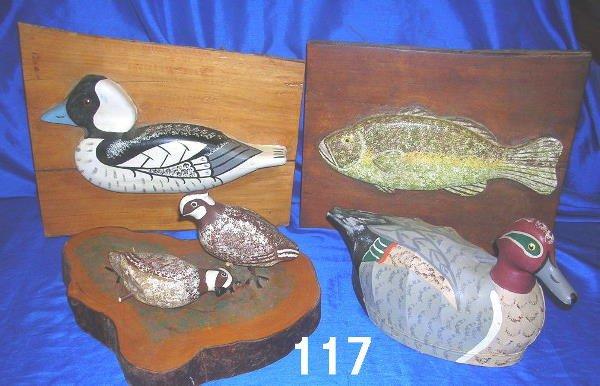 50117: ANTIQUE DECOY LOT DUCK TWO QUAILS FISH