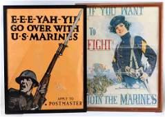 WWI US MARINES PROPAGANDA LITHOGRAPHS ORIGINAL