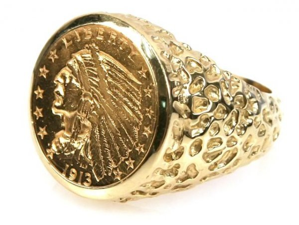 MENS 1913 $2.50 INDIAN COIN RING