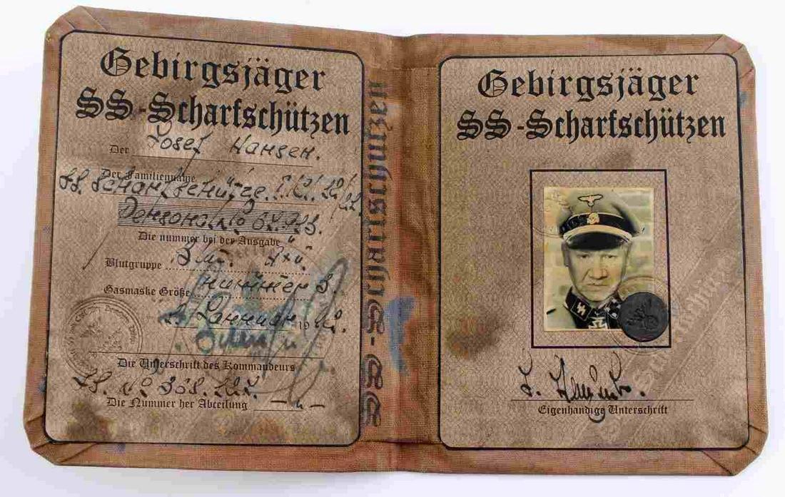 WWII GERMAN SS KNIGHTS CROSS SNIPER WINNER AUSWEIS