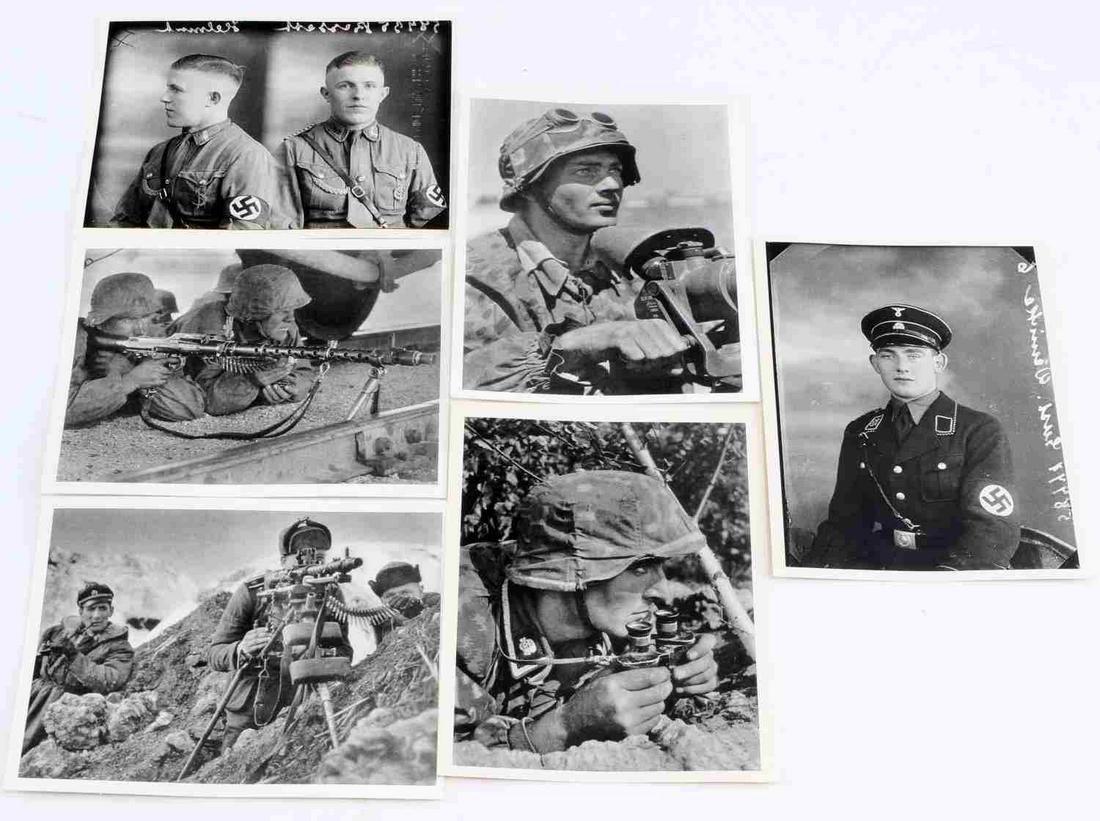 WWII GERMAN WAFFEN SS SOLDIER POSTCARD LOT OF SIX