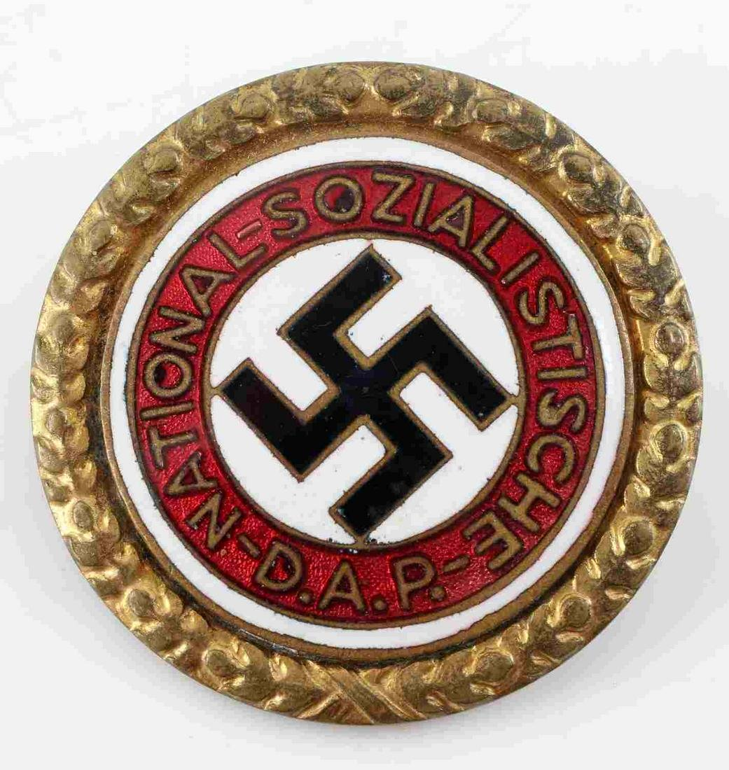 WWII GERMAN THIRD REICH NSDAP GOLDEN PARTY BADGE