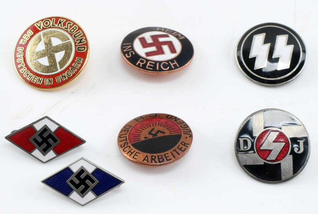 WWII GERMAN THIRD REICH PARTY BADGE LOT OF SEVEN