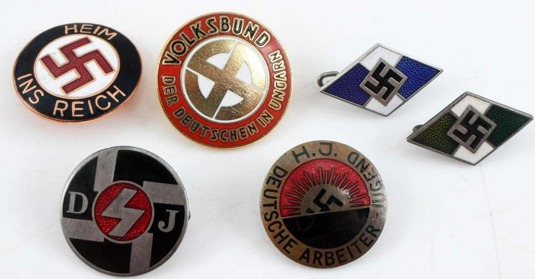 WWII GERMAN THIRD REICH NSDAP PARTY BADGE LOT OF 6