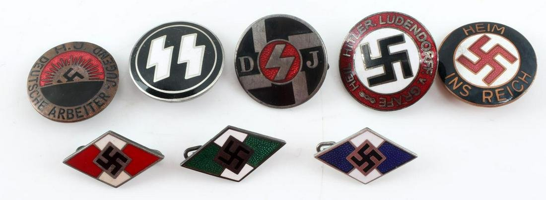WWII GERMAN THIRD REICH NSDAP PARTY BADGE LOT OF 8