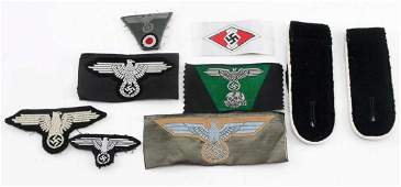 WWII GERMAN THIRD REICH HEER SS PATCH LOT OF EIGHT
