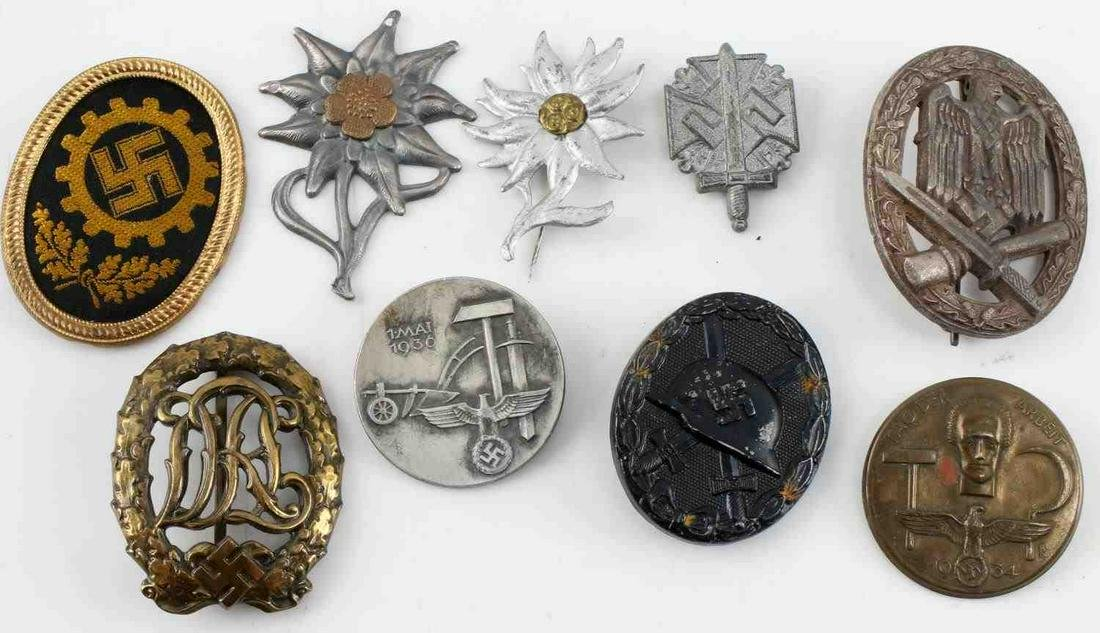 WWII GERMAN LOT OF 9 BADGES DRL EDELWEISS TINNIES