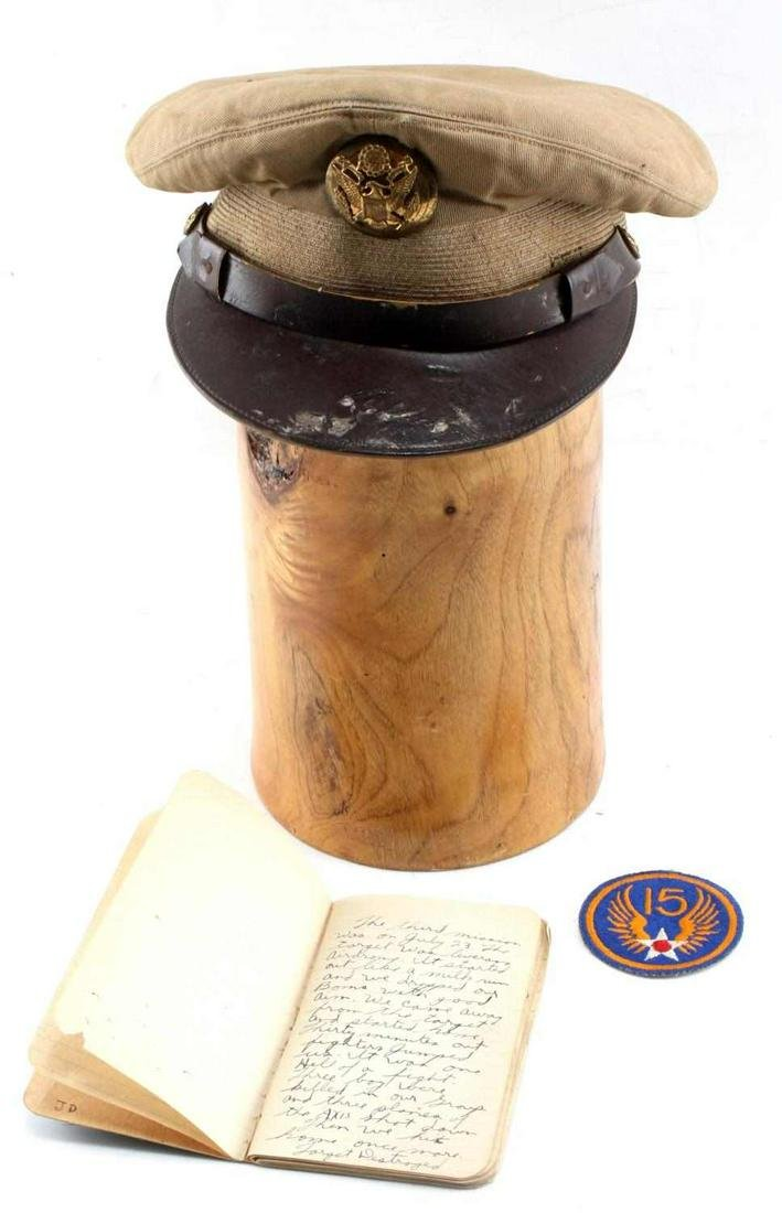 WWII US ARMY AIR FORCE DIARY & NCO CRUSHER HAT