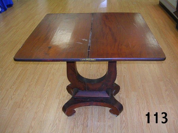 60113: ANTIQUE EMPIRE LIBRARY PEDESTAL TABLE W FOLD TUR