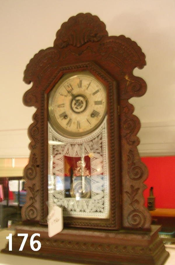 60176: ANTIQUE ATTLEBORO CLOCK CO MANTLE CLOCK