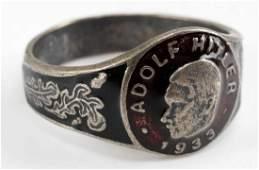 WWII GERMAN ADOLF HITLER 1933 SILVER RING ENAMEL