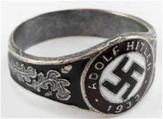 WWII GERMAN ADOLF HITLER SWASTIKA SILVER RING