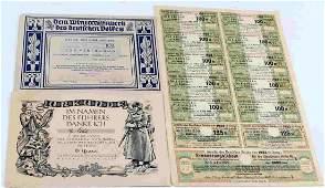 LOT 3 WWII GERMAN COMMEMORATIVE PAPER CERTIFICATES