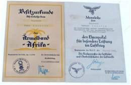 WWII GERMAN THIRD REICH CITATION LOT OF 2