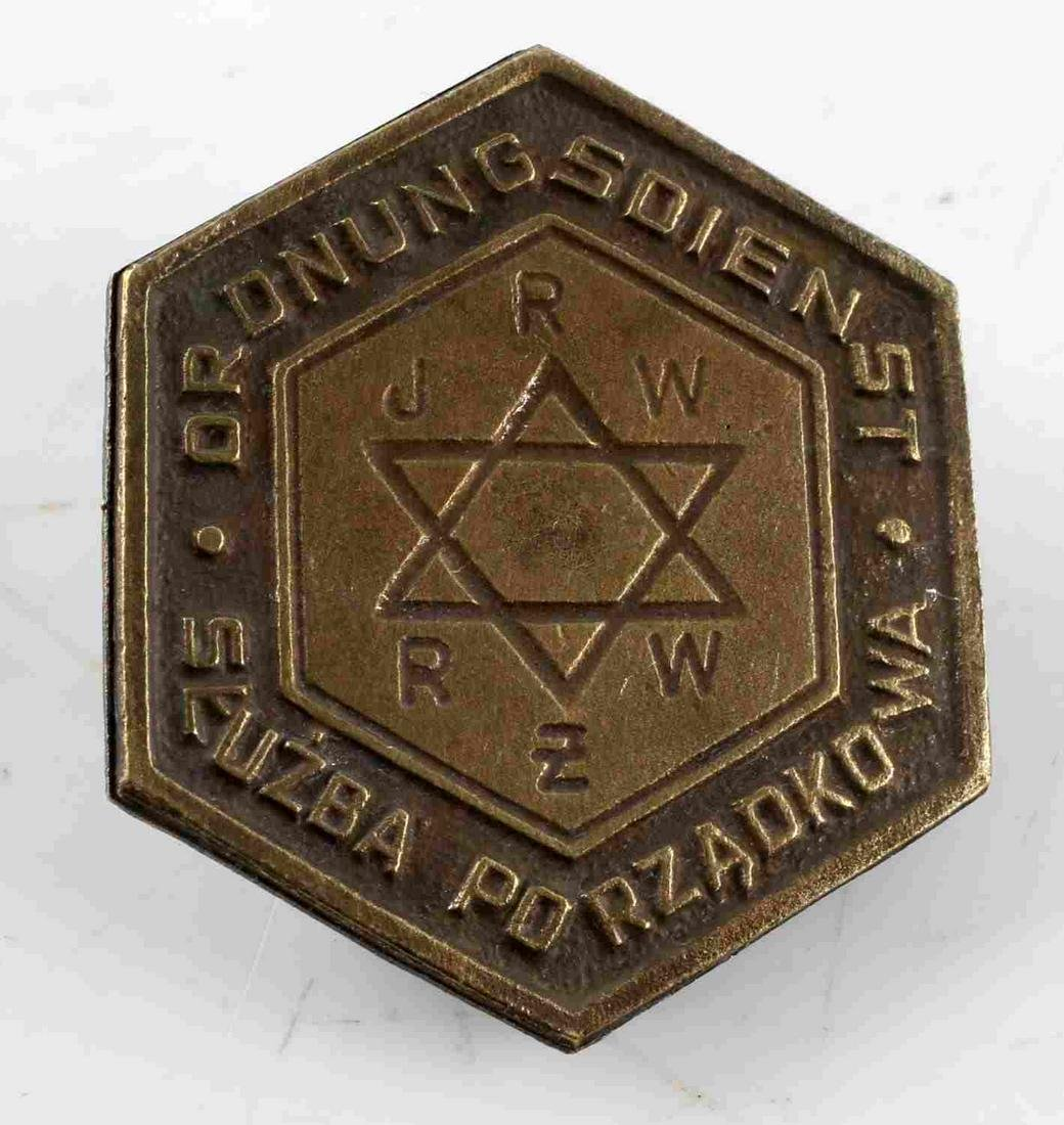 WWII GERMAN 3RD REICH WARSAW GHETTO POLICE BADGE