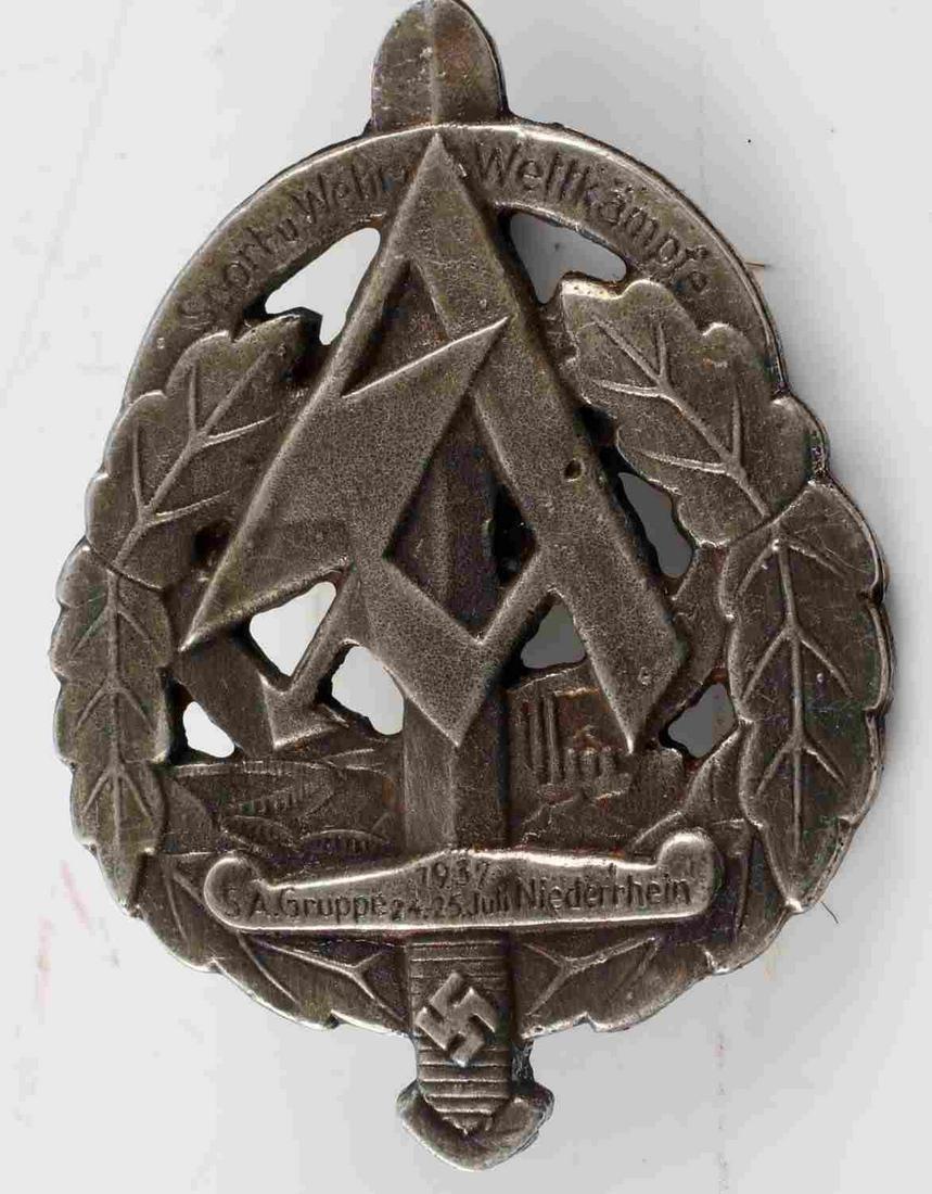 WWII GERMAN THIRD REICH SILVER 1937 SA BADGE