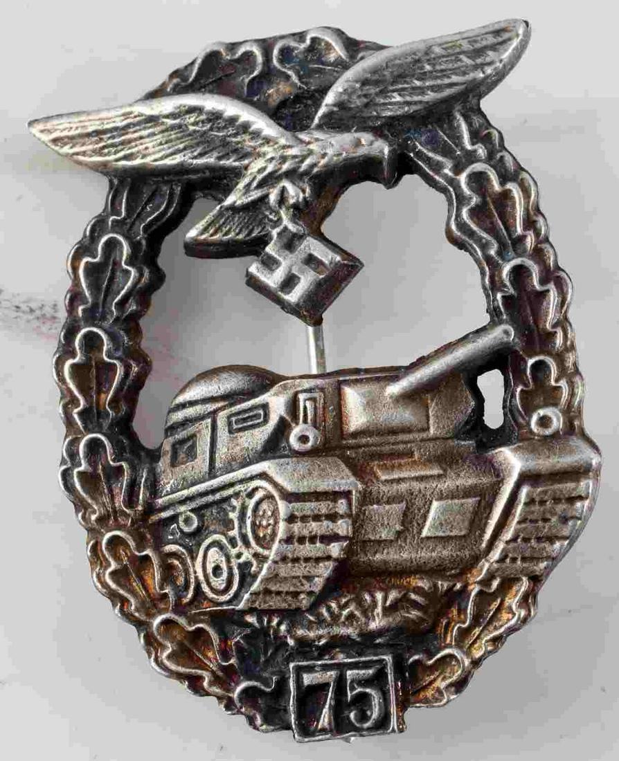 WWII GERMAN LUFTWAFFE 75 TANK ASSAULT BADGE