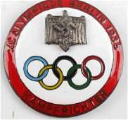 GERMAN THIRD REICH 1936 OLYMPICS ENAMELED BADGE