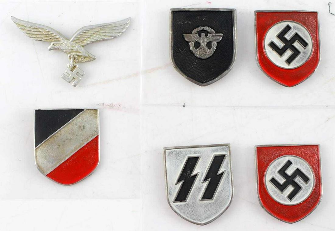 WWII GERMAN 3RD REICH SS PITH HELMET SHIELD LOT