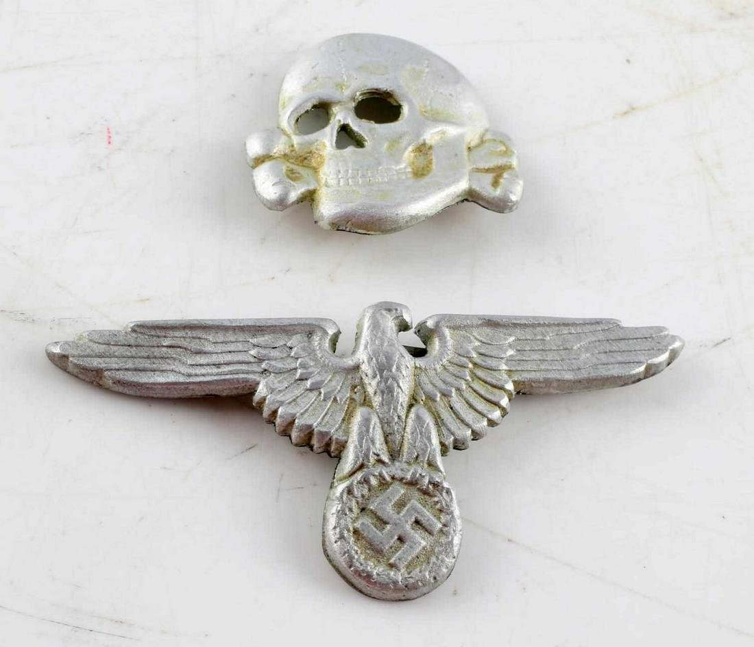WWII GERMAN SS TOTENKOPF EAGLE OFFICER CAP BADGES