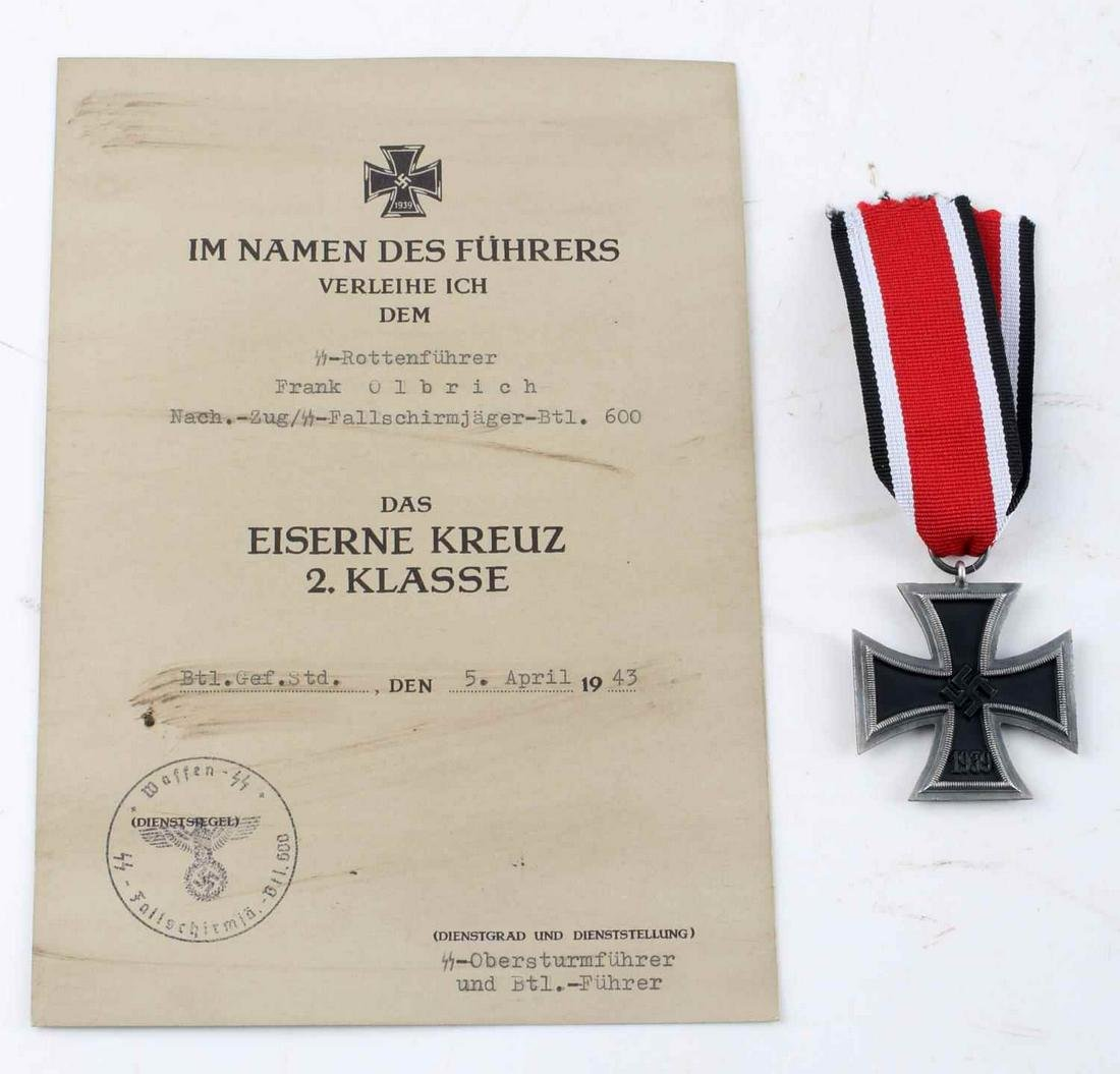 WWII GERMAN 3RD REICH IRON CROSS W AWARD CITATION