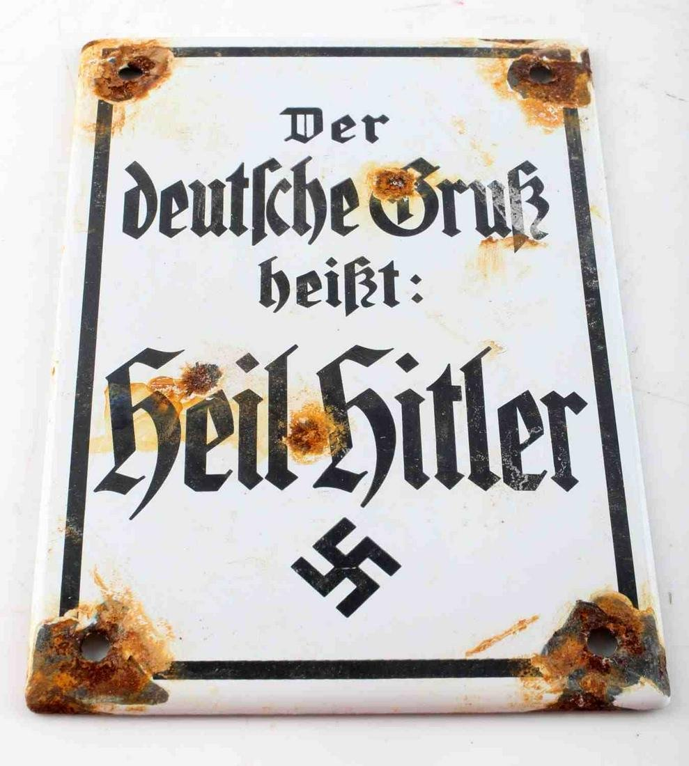 WWII GERMAN HITLER PROPAGANDA STREET SIGN