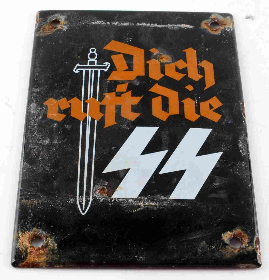 WWII GERMAN THIRD REICH SS PROPAGANDA STREET SIGN