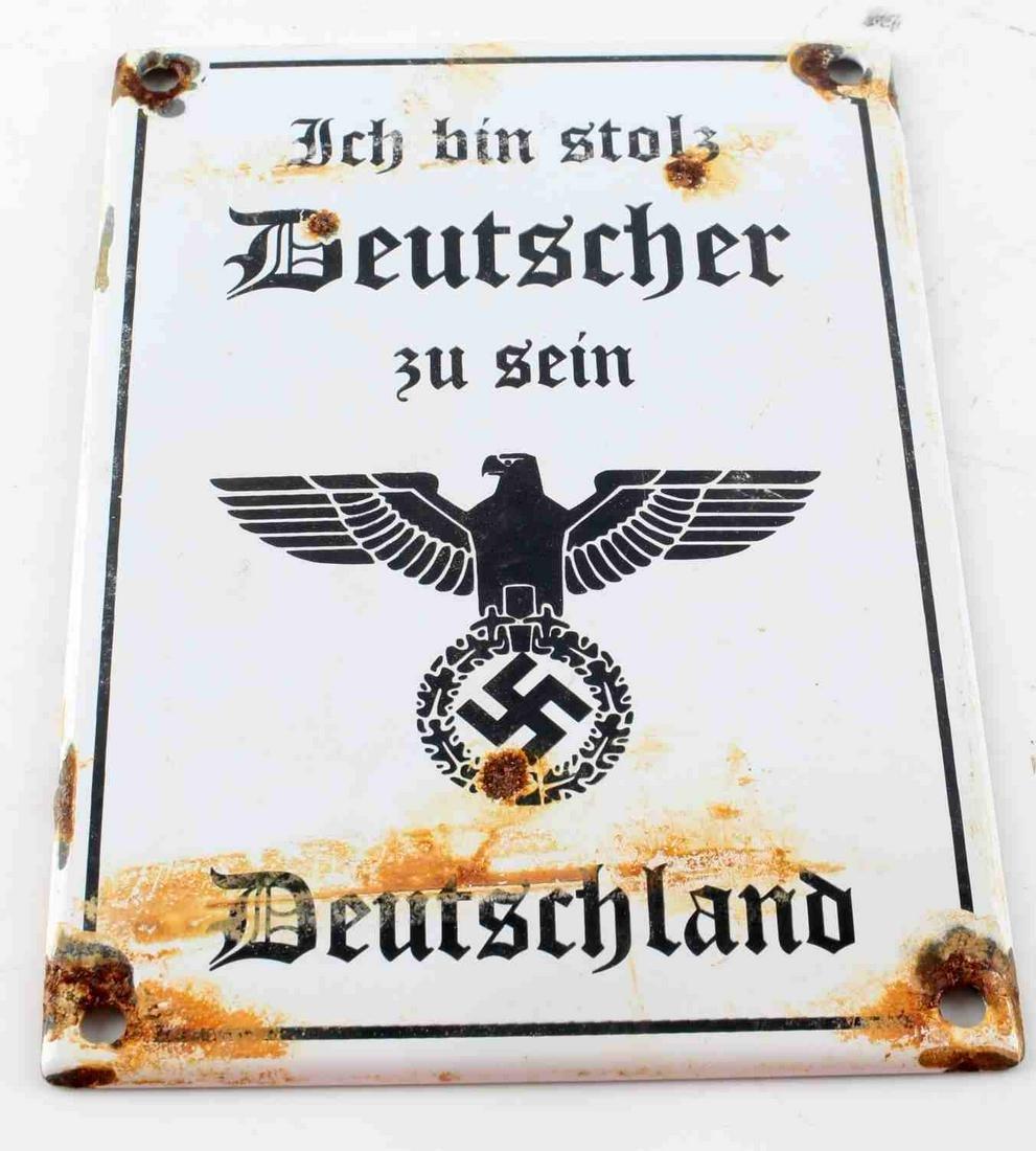 WWII GERMAN THIRD REICH PATRIOTIC STREET SIGN