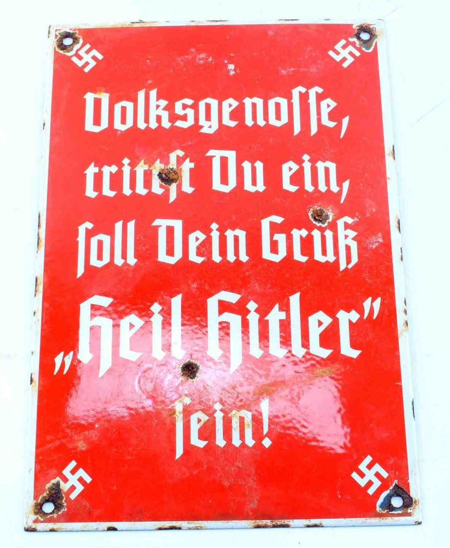 WWII GERMAN THIRD REICH HEIL HITLER SIGN