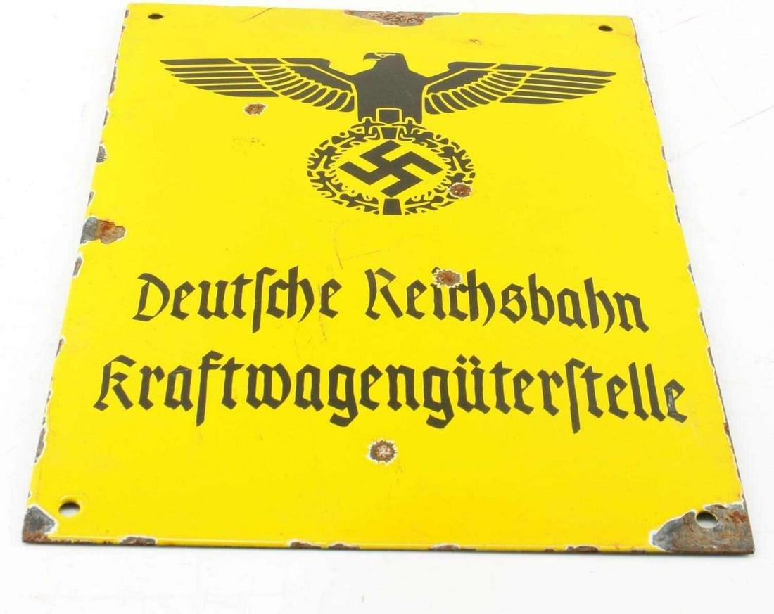WWII GERMAN THIRD REICH MOTOR VEHICLE DEPOT SIGN
