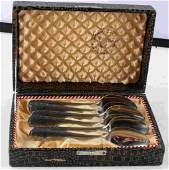 WWII GERMAN 3RD REICH AFRICA TEA SPOONS 6 WITH BOX