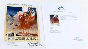 WWII POSTER REPRODUCTION FLYING TIGERS AUTOGRAPHED