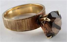 VINTAGE 18 KT GOLD AND SMOKY QUARTZ RING