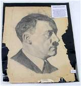 WWII ADOLF HITLER PORTRAIT IN CHARCOAL ON PAPER
