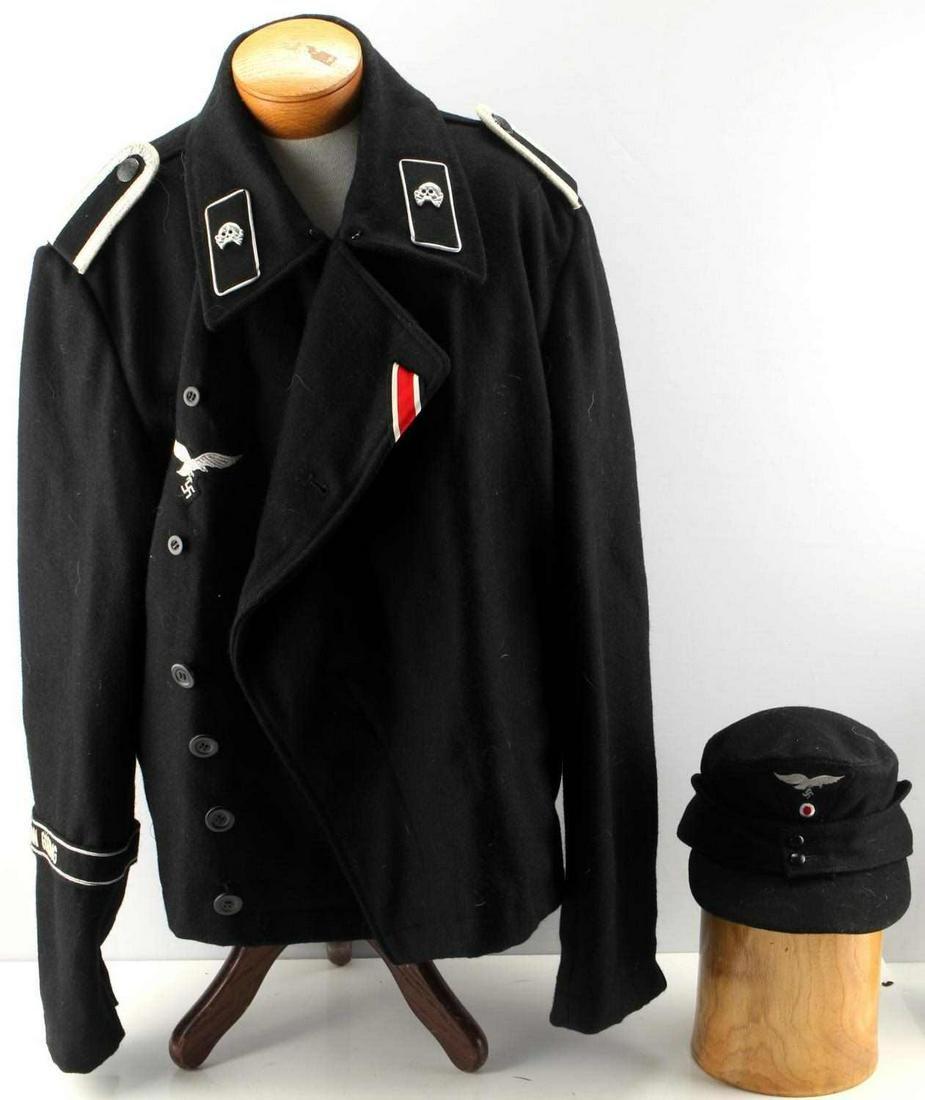 WWII GERMAN WAFFEN SS UNIFORM JACKET AND CAP