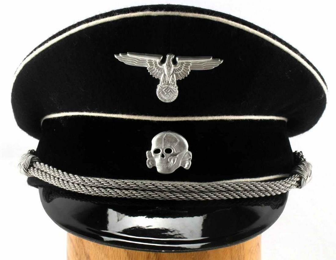 WWII GERMAN THIRD REICH SS OFFICER VISOR HAT
