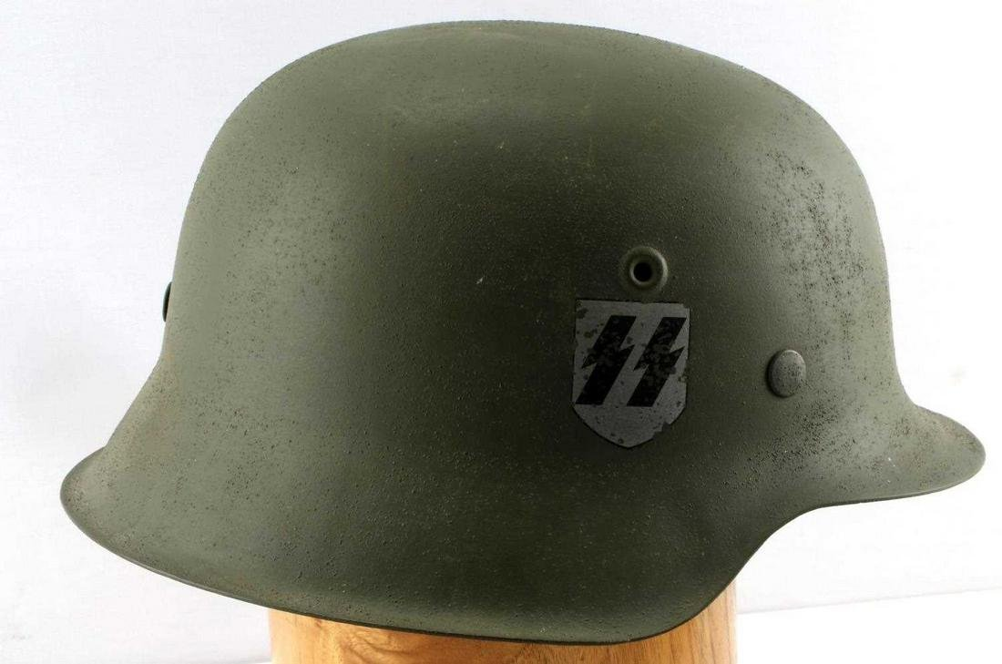 WWII GERMAN THIRD REICH SS HELMET DOUBLE INSIGNIA