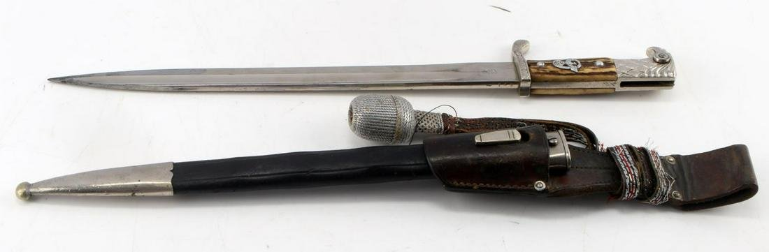 WWII GERMAN 3RD REICH ETCHED POLICE BAYONET STAG HANDLE