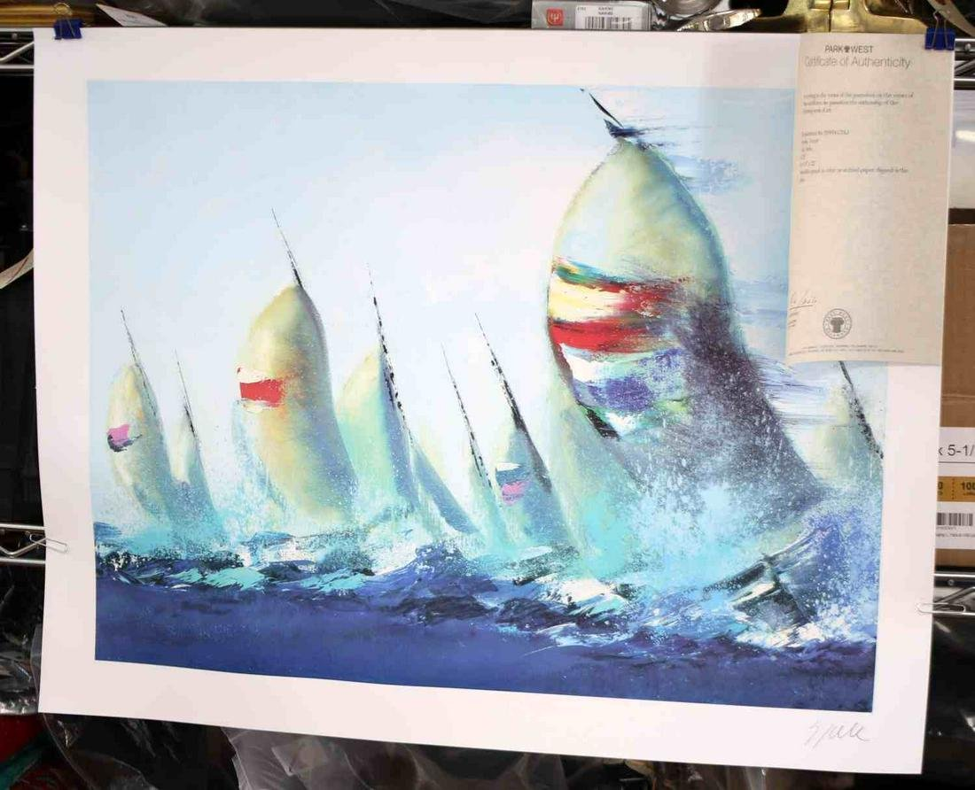 VICTOR SPAHN JULY SAILS SERIOLITHOGRAPH W PW COA