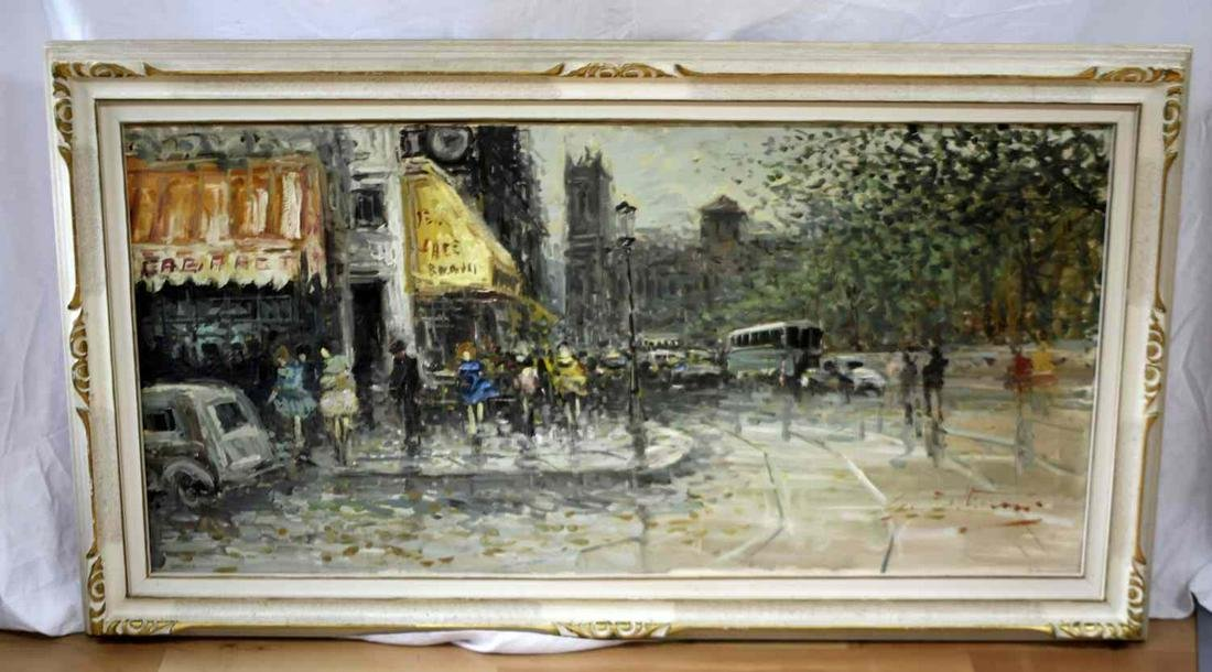 VINTAGE MID CENTURY FRENCH STREET CAFE SCENE