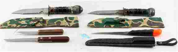 VARIOUS USED CAMP & SURVIVAL KNIFE LOT