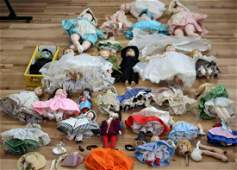 ANTIQUE DOLLS BRIDE GROOM HANDMADE CLOTHES