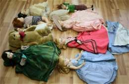 LOT ANTIQUE DOLLS HANDMADE CLOTHES & BEAR PUPPET