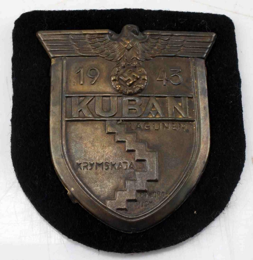 WWII GERMAN KUBAN SHIELD ON PANZER BLACK CLOTH