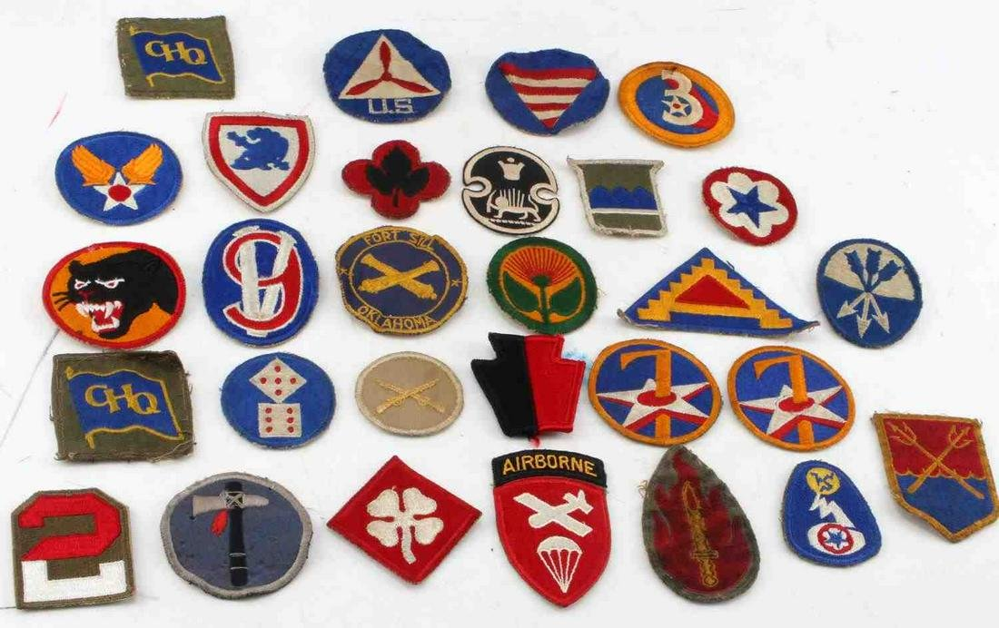 LOT OF 28 WWII UNITED STATES ARMY PATCHES