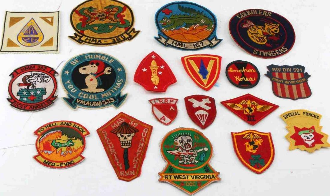 LOT OF 18 VIETNAM WAR ERA US ARMY & USMC PATCHES
