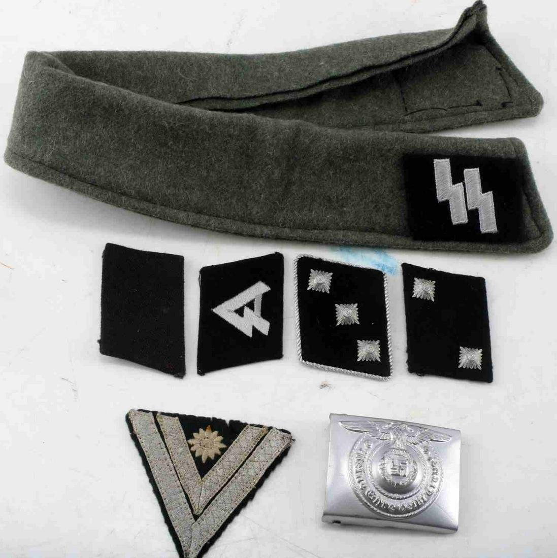WWII GERMAN THIRD REICH SS LOT COLLAR AND BUCKLE